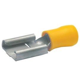 Cable-Engineer Vlakstekerhuls  6,3 x 0,8 mm - Geel 1/2 geïsoleerd 100 stuks
