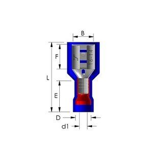 Cable-Engineer 100 x Vlakstekerhuls kabelschoenen  Rood 6,3 x 0,8 mm - volledig geïsoleerd (faston of female disconnector)