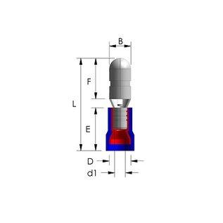 Cable-Engineer Kogel kabelschoen blauw 5mm (vrouw) voor draad Ø 1,5-2,5mm2