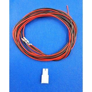 Complete set met Molex MiniFit Jr. Receptacle connector 2Pos. (1-Rij) + 2x 2m. 0,50mm2 kabel  met contacten (pre-crimped)