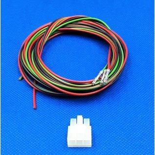Complete set met Molex MiniFit Jr. Receptacle connector 3Pos.(1-Rij) + 3x 2m. 0,50mm2 kabel  met contacten (pre-crimped)
