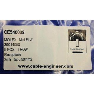 Complete set met Molex MiniFit Jr. Receptacle connector 5Pos.(1-Rij) + 5x 2m. 0,50mm2 kabel met contacten (pre-crimped)