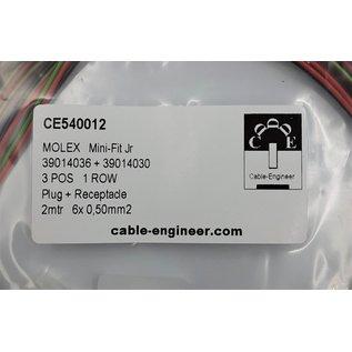 Complete set met Molex MiniFit Jr. Plug & Receptacle 3Pos. (1-Rij) + 6x 2m. 0,50mm2 kabelen contacten (pre-crimped)