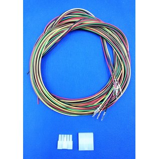 Complete set met Molex MiniFit Jr. Plug & Receptacle 5Pos.(1-Rij) + 10x 2m. 0,50mm2 kabel en contacten (pre-crimped)