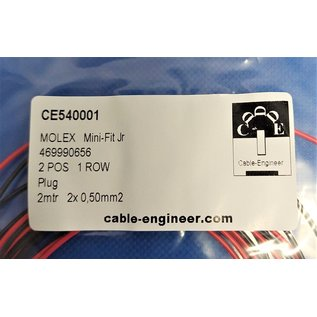 Molex Complete set met Molex MiniFit Jr. Plug connector 2Pos. + 2x 2m. 0,50mm2 kabel met contacten (pre-crimped)
