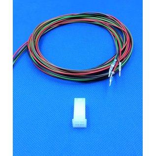 Molex Complete set met Molex MiniFit Jr. Plug connector 4Pos. (2-Rij) + 4x 2m. 0,50mm2 kabel  met contacten (pre-crimped)