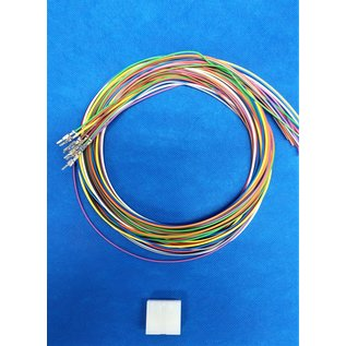 Molex Complete set met Molex MiniFit Jr. Plug connector 12Pos. (2-Rij) + 12x 2m. 0,50mm2 kabel  met contacten (pre-crimped)