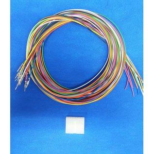 Molex Complete set met Molex MiniFit Jr. Plug connector 14Pos. (2-Rij) + 14x 2m. 0,50mm2 kabel  met contacten (pre-crimped)