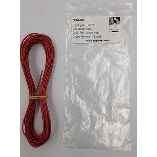 Cable-Engineer FLRY-B kabel 0,50mm2 - flexibele voertuigkabel - 10 meter Kleur Rood
