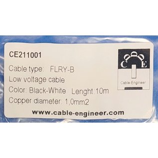 Cable-Engineer FLRY-B kabel 1,0mm2 - flexibele voertuigkabel - 10 meter Kleur Zwart/Wit