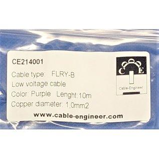 Cable-Engineer FLRY-B kabel 1,0mm2 - flexibele voertuigkabel - 10 meter Kleur Paars