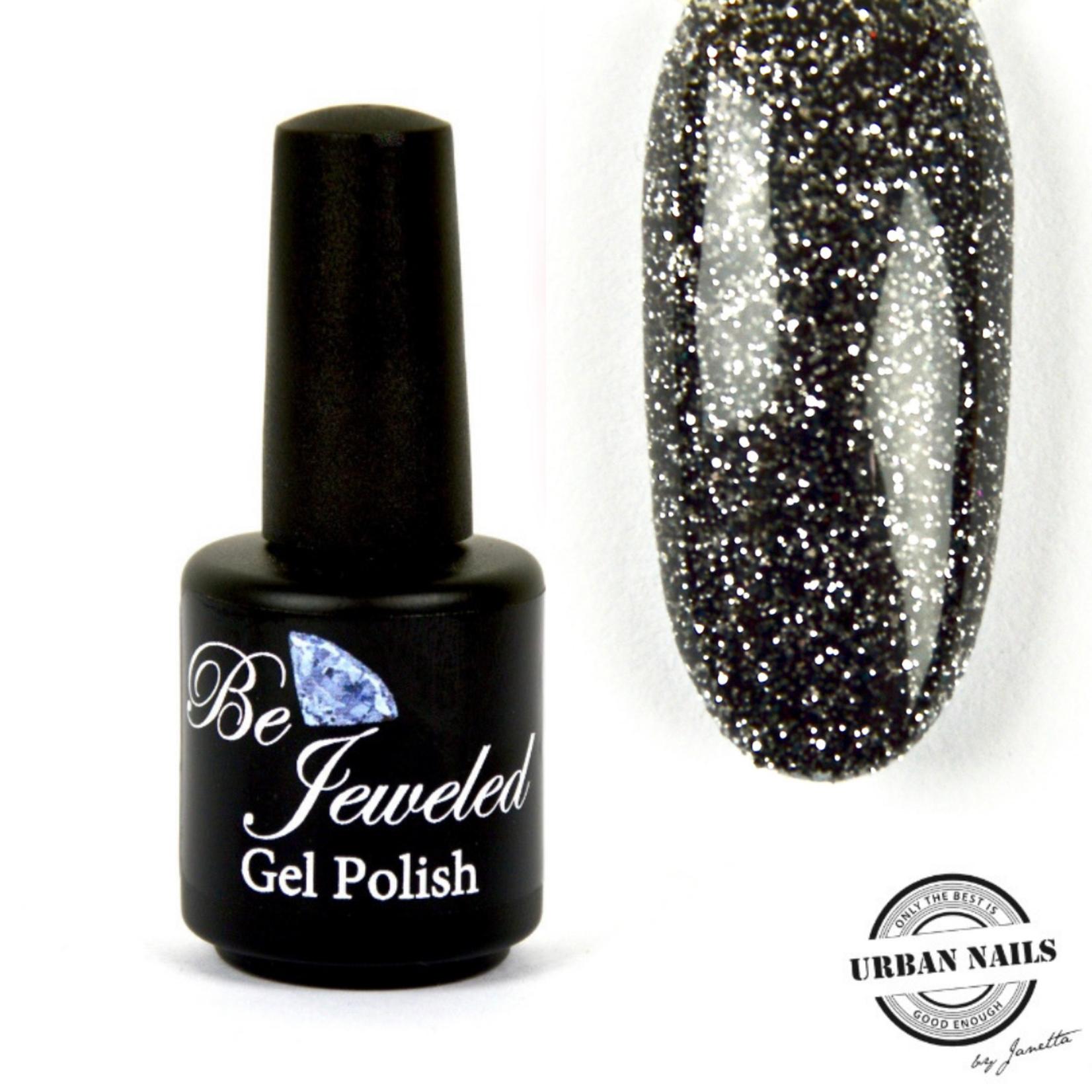 Urban Nails Be Jeweled Gelpolish 104 Zwart Met Zilver Glitter