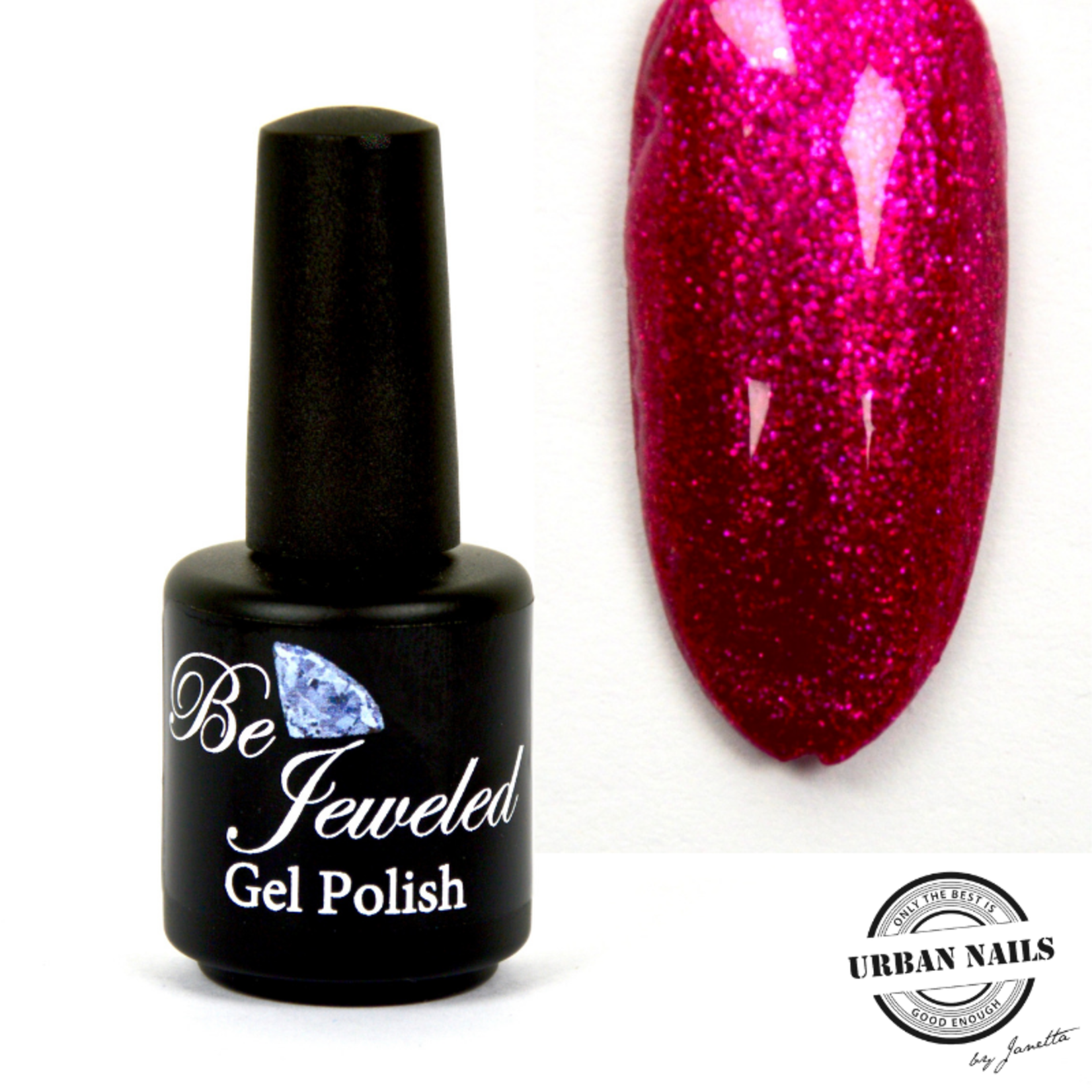Urban Nails Be Jeweled Gelpolish 141 Donker Rood Roze Glitter