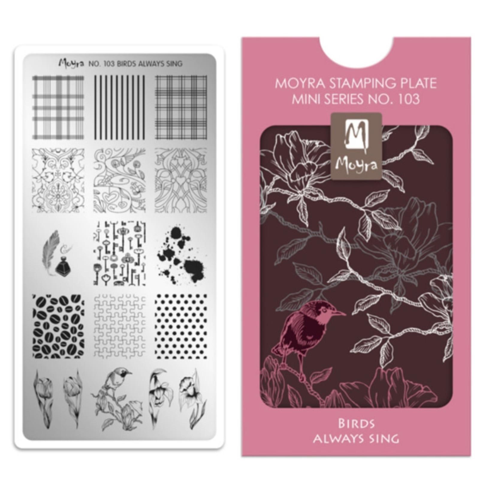 Moyra Moyra Mini Stamping plate 103 Birds always sing