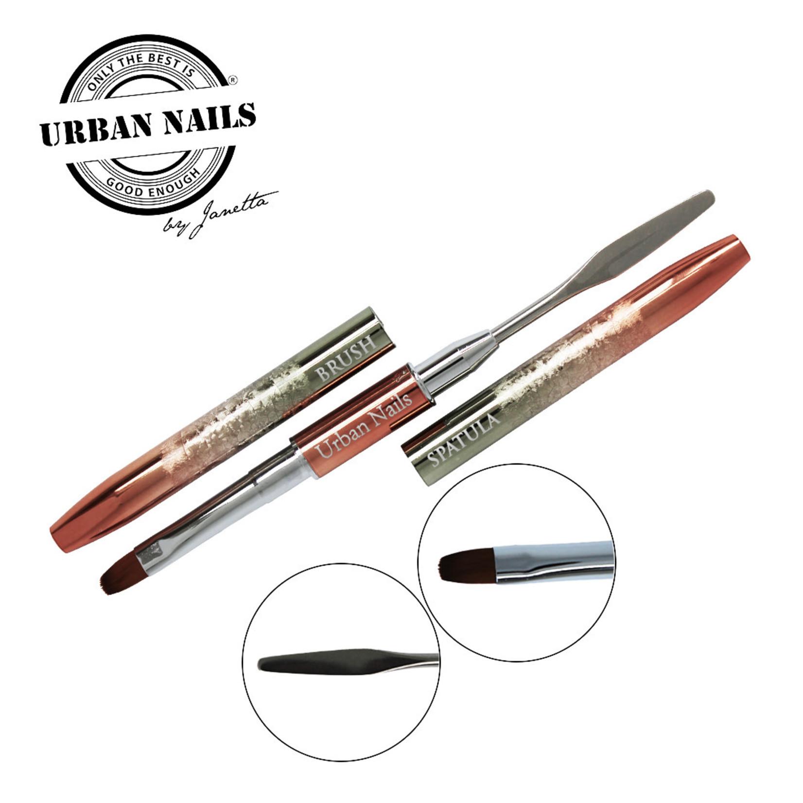 Urban Nails Rosegold Spatula Double Brush