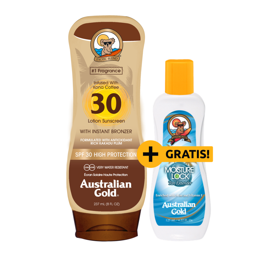 SPF 30 Lotion Bronzer + GRATIS! Moisture Lock Aftersun 125ml t.w.v. € 8,95