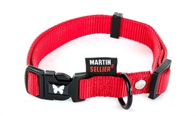 Martin sellier Martin sellier halsband nylon rood verstelbaar