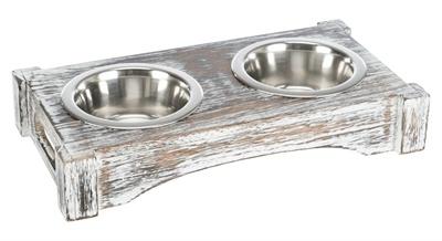 Trixie Trixie voerbak / drinkbak set rvs hout wit