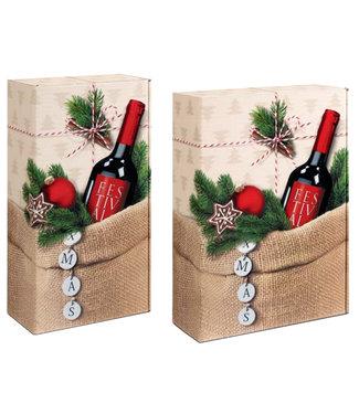 XMAS geschenkdoos voor 2 of 3 wijnflessen