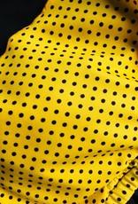 Dresskini Shoulder Dress Retro Yellow Black Polka Dots