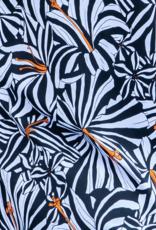 Dresskini Shoulder Dress Black White Orange Flowers