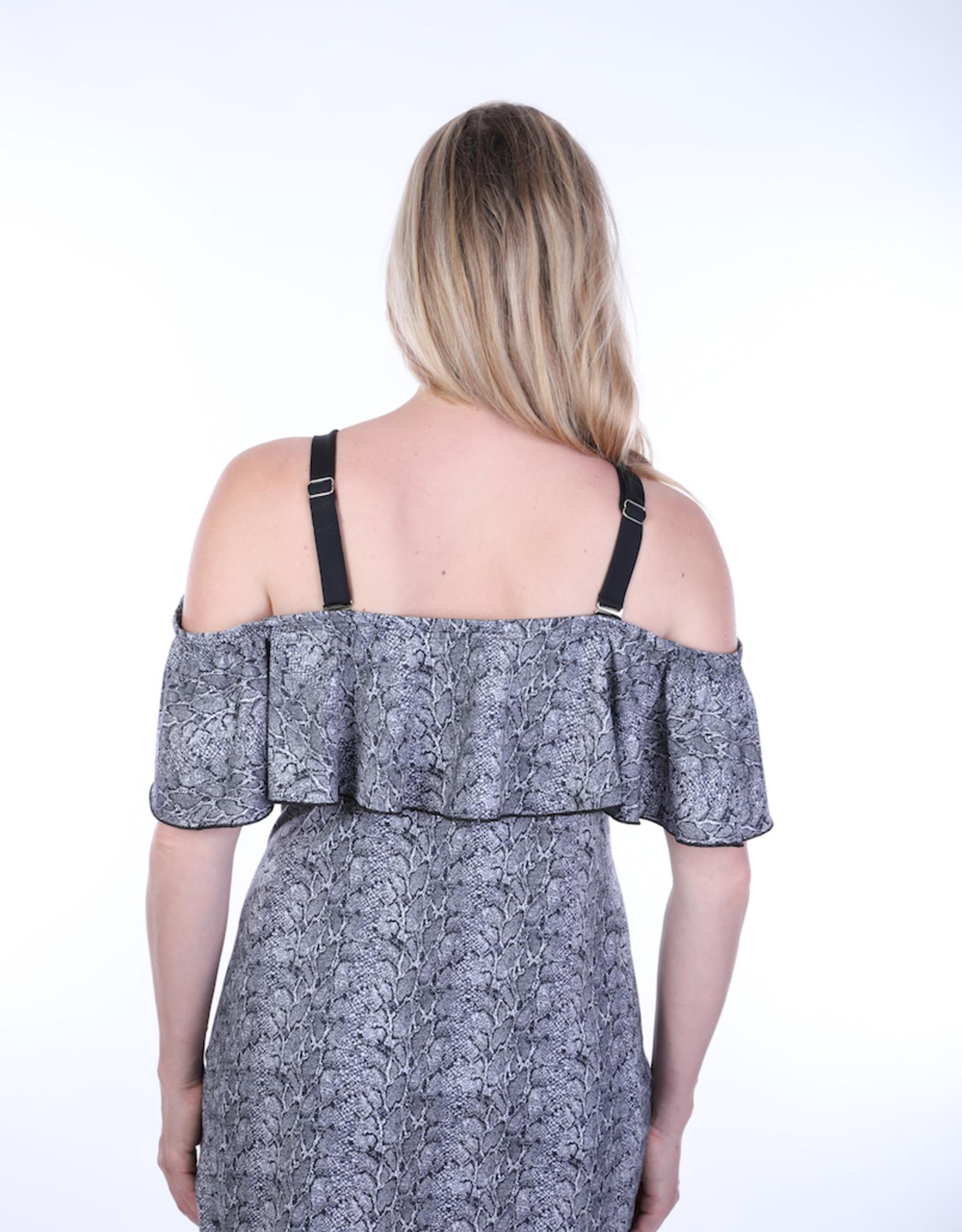 Dresskini Shoulder Dress Black Grey Snake Print