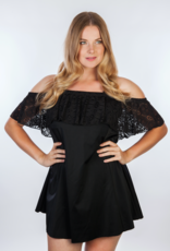 Dresskini Shoulder Dress Solid Black Lace