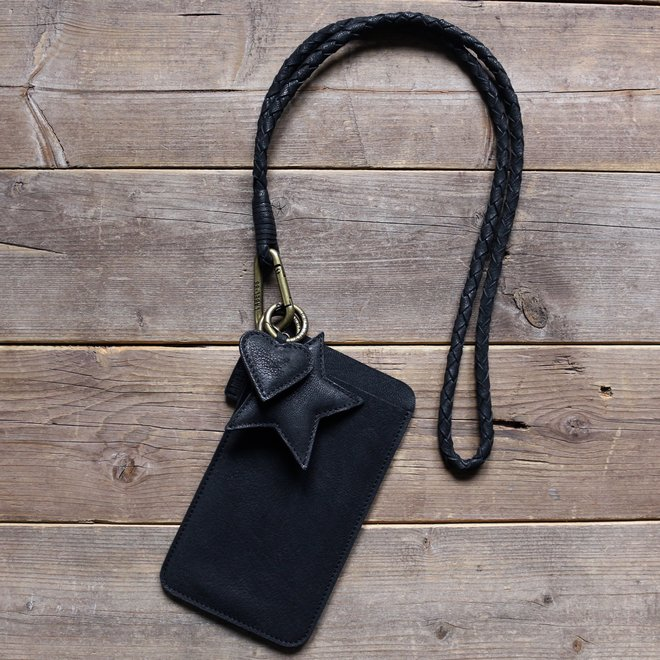 Miami XR keycord telefoonhoesje set M, zwart leer