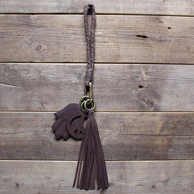 Keycord Flat S lanyard, brown leather