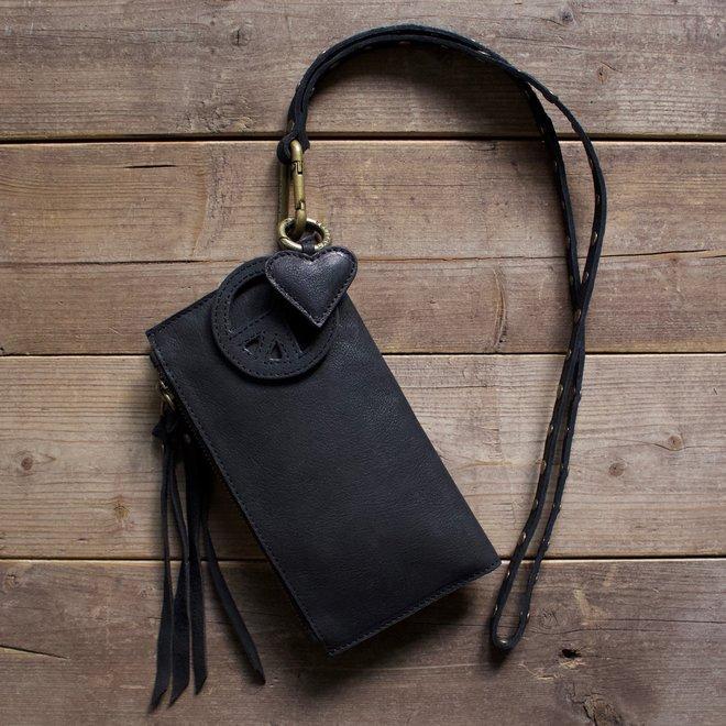Label 88 Turin portemonnee, zwart leer
