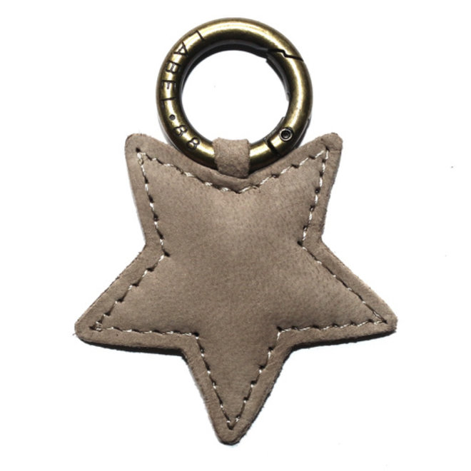 Star S keychain, soft taupe nubuck leather