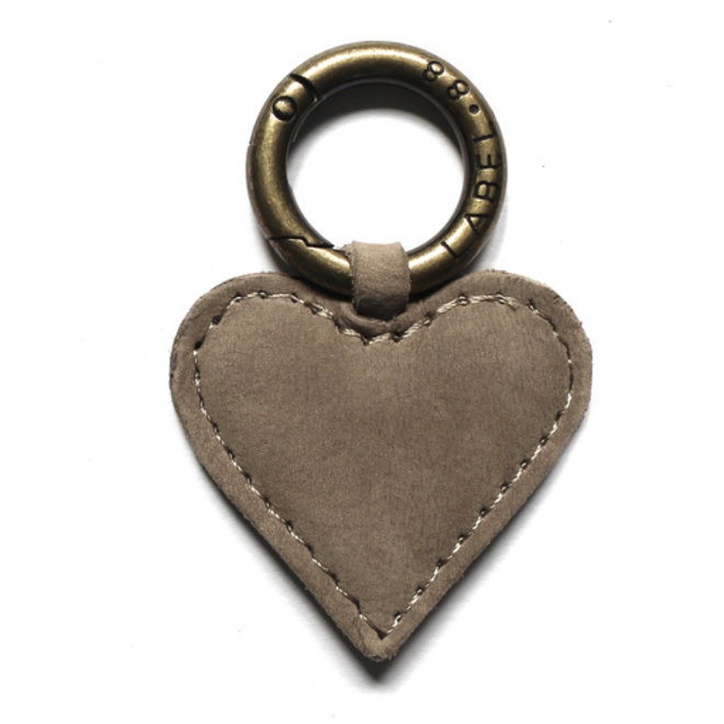 Heart S Keychain, soft taupe nubuck leather