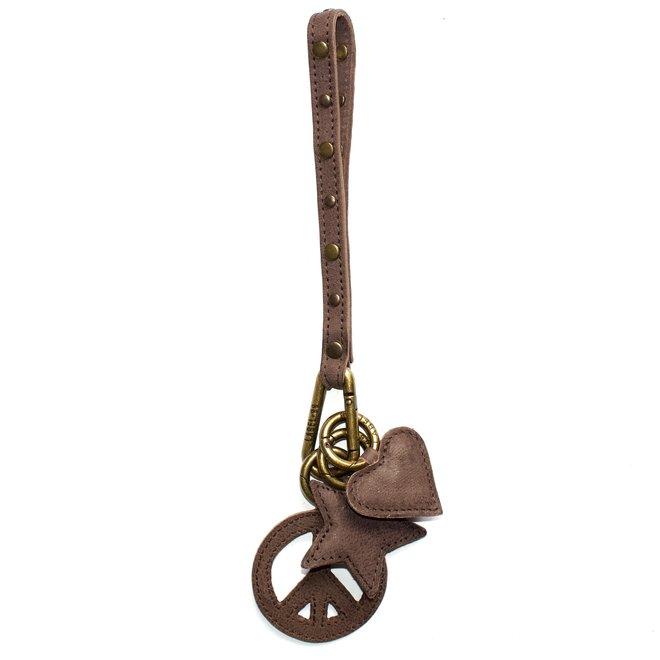 Keycord Studs sleutelkoord, bruin leer