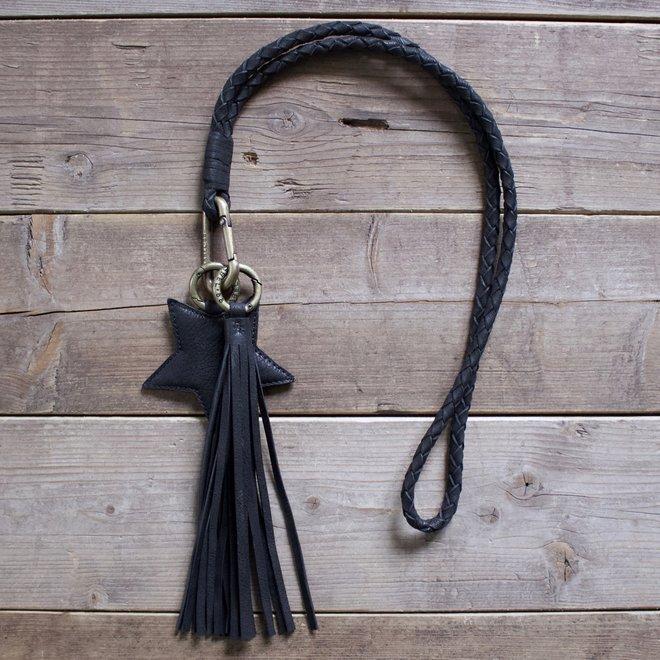 Keycord M sleutelkoord, zwart leer