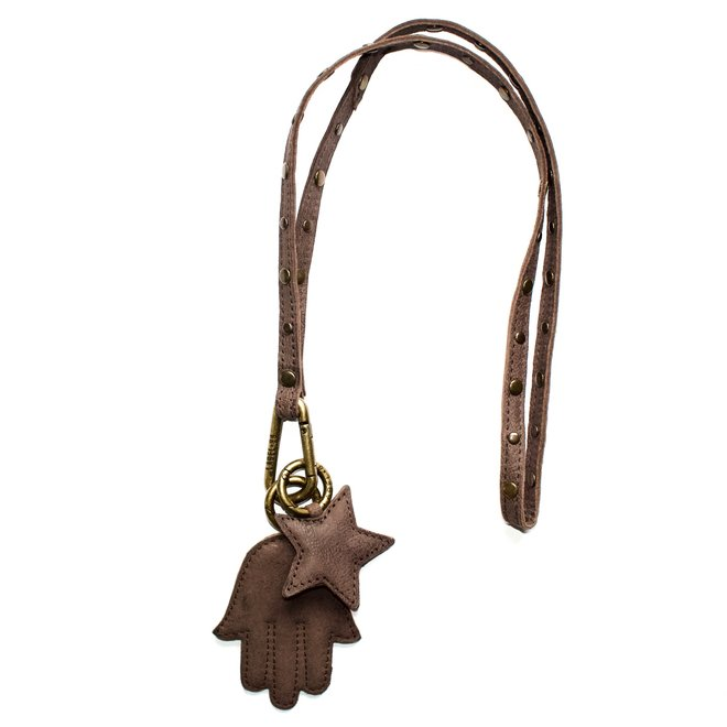 Keycord Studs lanyard M, brown leather