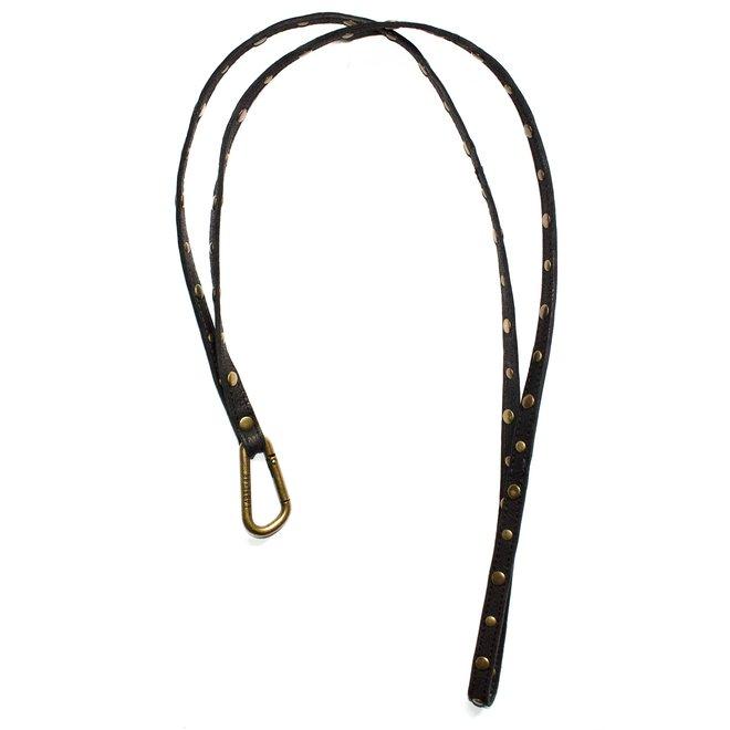 Keycord Studs sleutelkoord L, zwart leer