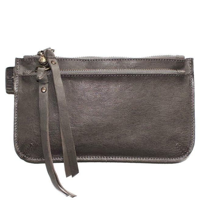 Beijing Zipper 2 keycordbag, grey leather