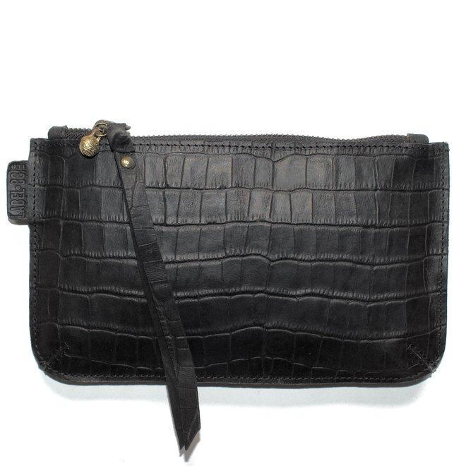 Beijing XL keycordbag, black croco leather