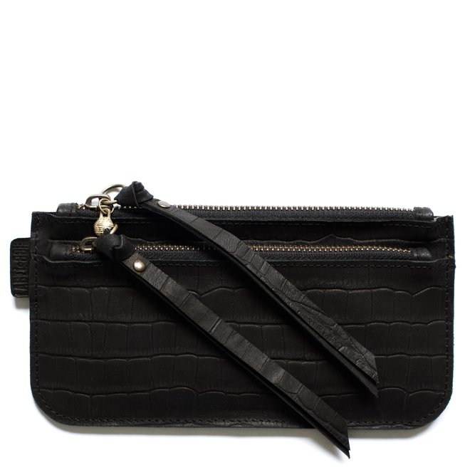 Beijing Wallet keycord wallet, black croco leather