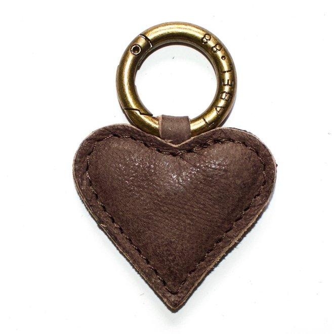 Heart S keychain, brown