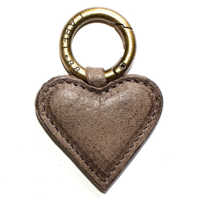 Heart S keychain, taupe