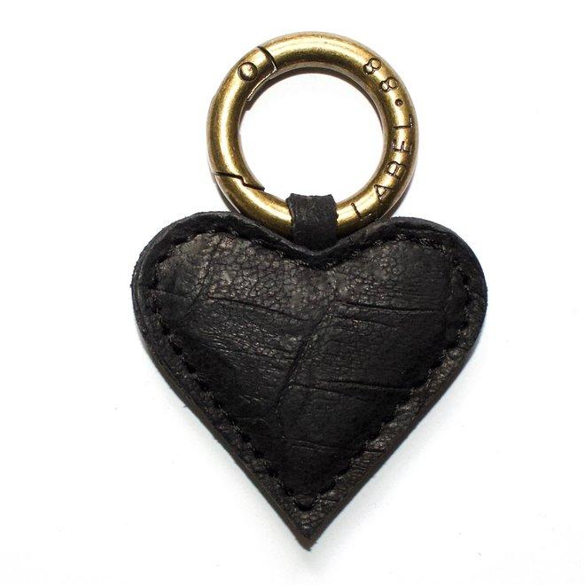 Heart S keychain, black croco