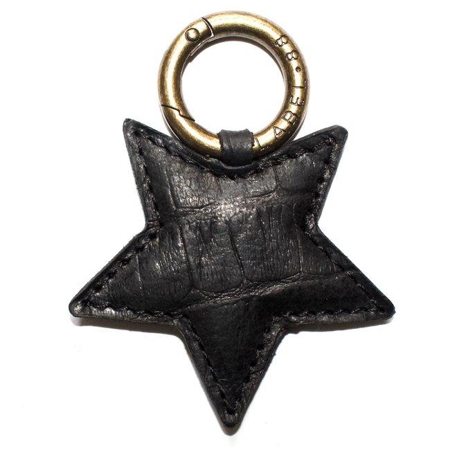 Ster S sleutelhanger, zwart croco