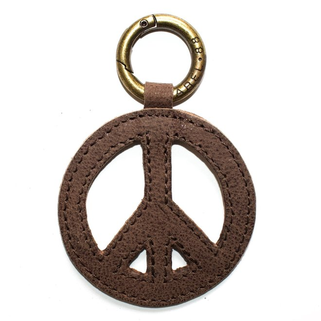Peace keychain, brown leather