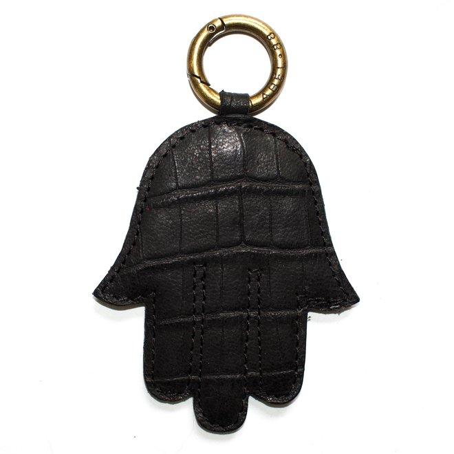 Fatima hand keychain, black croco