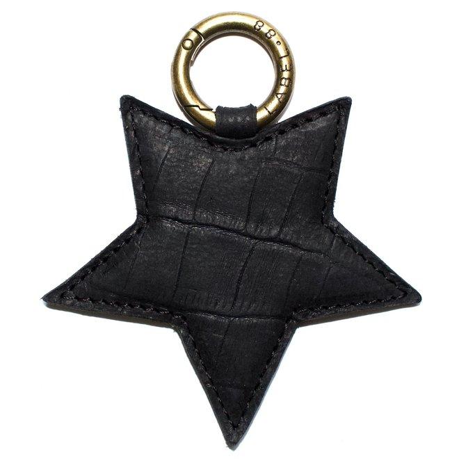 Star L keychain, black croco