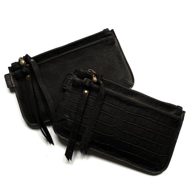 Beijing Zipper 2 keycordtas, zwart leer, croco print