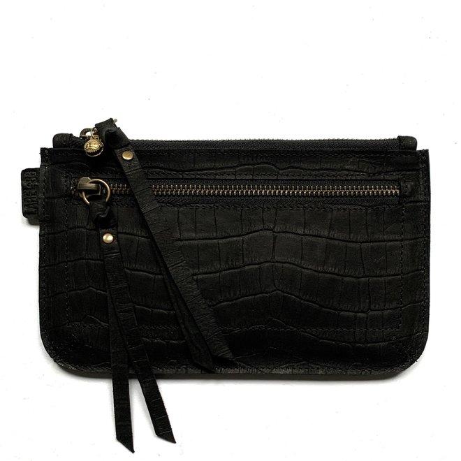Beijing Zipper keycordbag, black leather, croco print