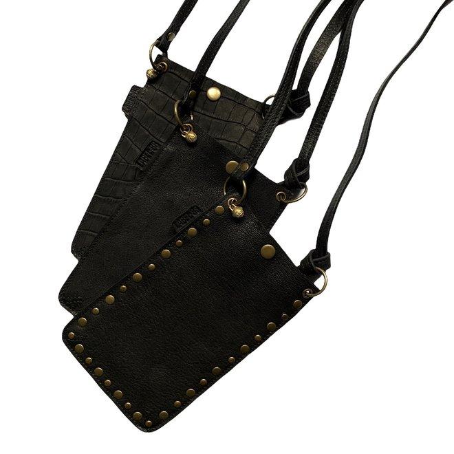 Miami XR phonebag, black leather, croco print