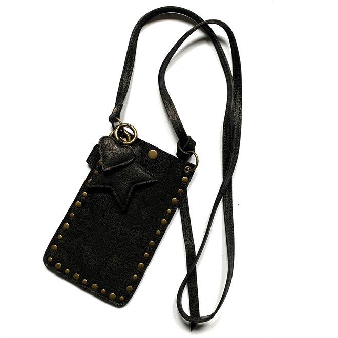 Telefoontasjes Miami XR Studs, zwart leer